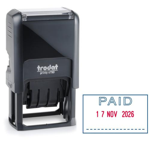Trodat Printy 4750/L2 Dater Stamp Self-Inking Word/Date PAID in Blue Date in Red Ref 141010