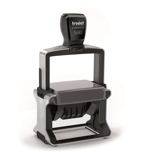 Trodat Professional 5480 Dater Self Inking Custom Stamp. Imprint Area 65 x 44 mm - 8 lines maximum - 4 above and 4 below the date