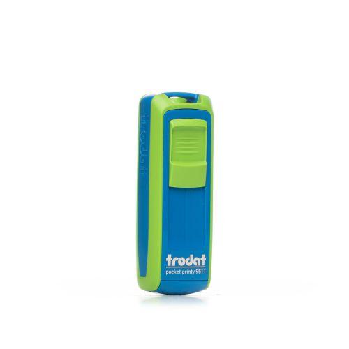 Trodat Pocket Printy 9511 - 38 x 14 mm - Sky Blue - Apple Green