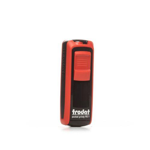 Trodat Pocket Printy 9511 - 38 x 14 mm - Eco Black - Flame Red
