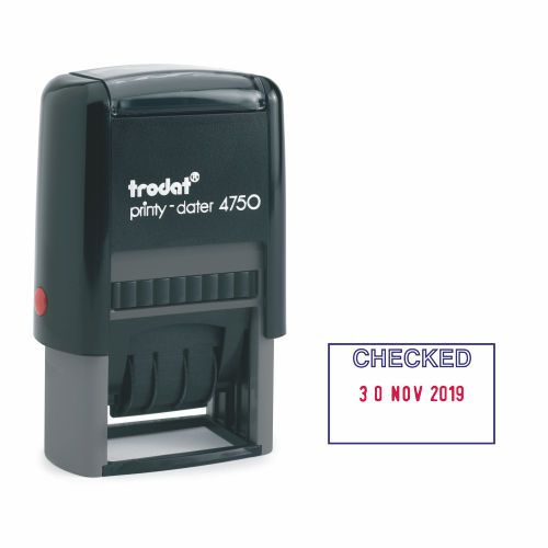 Trodat EcoPrinty 4750 Dater Stamp Self-Inking Word/Date CHECKED in Blue Date in Red Ref 141386