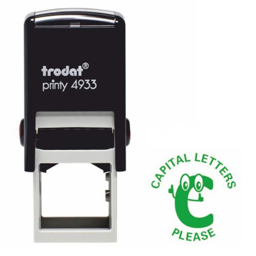 Trodat Classmates Education Stamp - Perfect for in the classroom, this self-inking stamp features the phrase 'CAPITAL LETTERS PLEASE'.