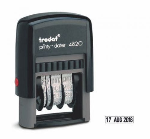 Trodat Printy 4820 Line Dater Stamp 4mm Refillable Black Ref 74000