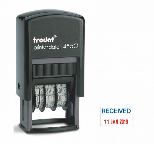Trodat Printy 4850 Compact Dater RECEIVED 76313 [3.8mm Date] [Red/Blue]