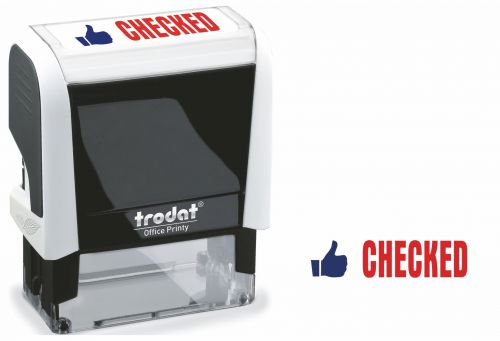 Trodat Office Printy Stamp Self-inking - Checked - 18x46mm Reinkable Red and Blue Ref 54295