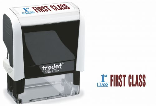 Trodat Office Printy Word Stamp FIRST CLASS 77300 [Red/Blue]