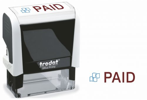 Trodat Office Printy Stamp Self-inking PAID 46x16mm Reinkable Red and Blue Ref 77302