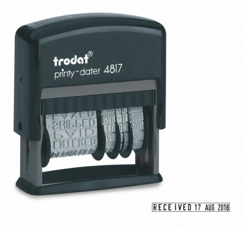 Trodat Printy 4817 Dial-a-Phrase Dater Stamp Self-inking Black Ref 80361