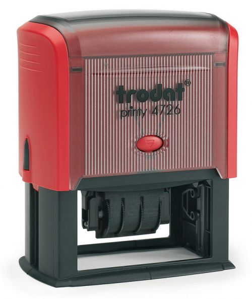 Trodat MCI Printy 4726 Self Inking Custom Date And Text Stamp. Imprint Area 71 x 34 mm - 6 lines maximum - 3 above and 3 below date