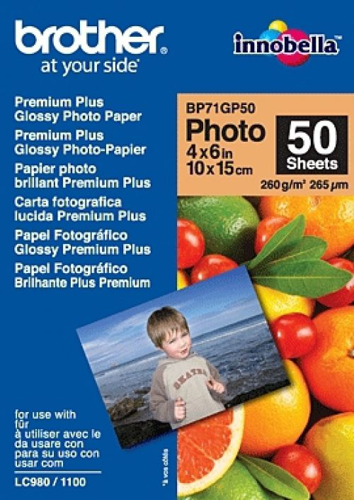Brother BP71GLP (6 x 4 inch) 260gsm Premium Plus Glossy Photo Paper (50 Sheets)