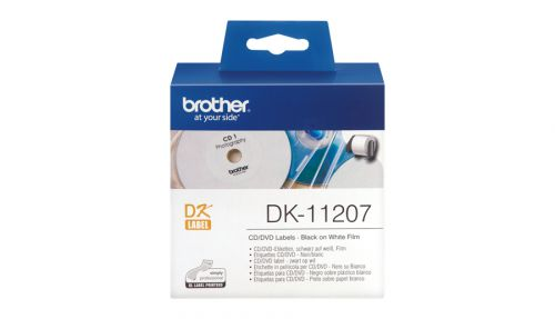 Brother DK Labels DK-11207 (58mm x 58mm) CD/DVD Labels (100 Labels)