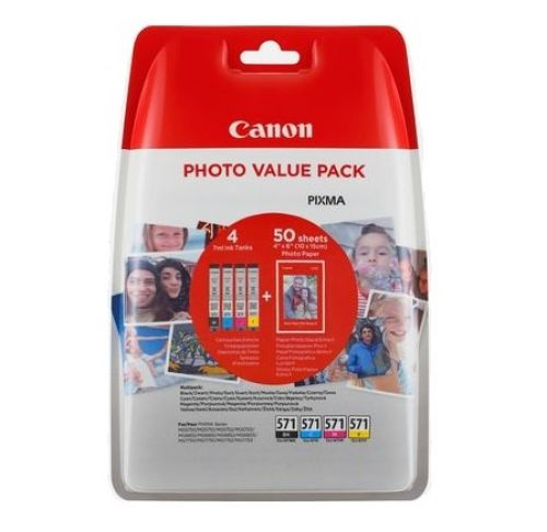 Canon Value Pack PP-201 4X6 Photo Paper + CLI-571 C/M/Y/BK (Pack of 4 Ink Cartridges)