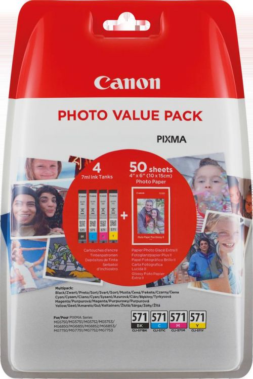 Canon Value Pack 4X6 Photo Paper CLI-571 C/M/Y/BK (Pack of 4 Ink Cartridges) Blister Pack + Security