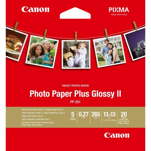Canon Photo Paper Plus Glossy II PP-201 (5x5 inch/13x13cm) 265g/m2 Photo Paper - 20 Sheets