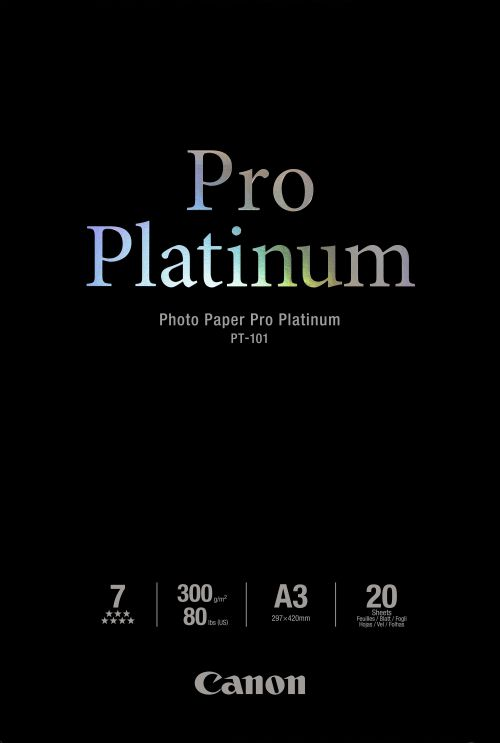 Canon PT-101 (A3) 300gsm Pro Platinum Photo Paper (Pack of 20 Sheets)