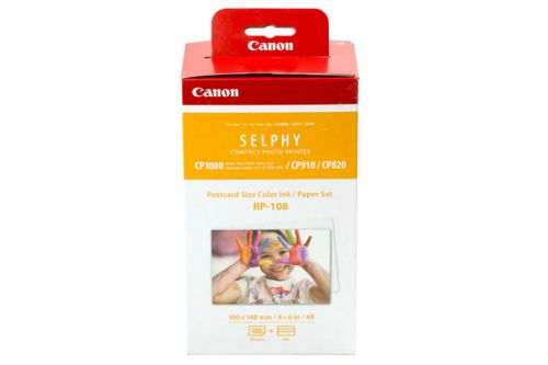 Canon RP-108 Postcard Size Colour Ink/Paper Set for SELPHY CP1000, CP910, CP910