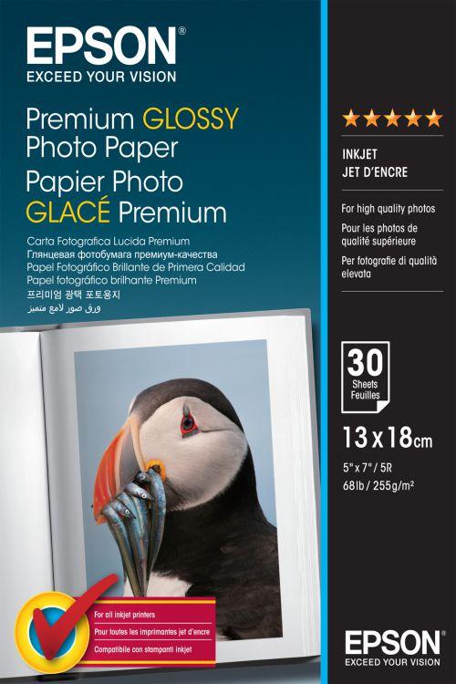 Epson Premium (13cm x 18cm) 255g/m2 Glossy Photo Paper (White) 1 Pack of 30 Sheets