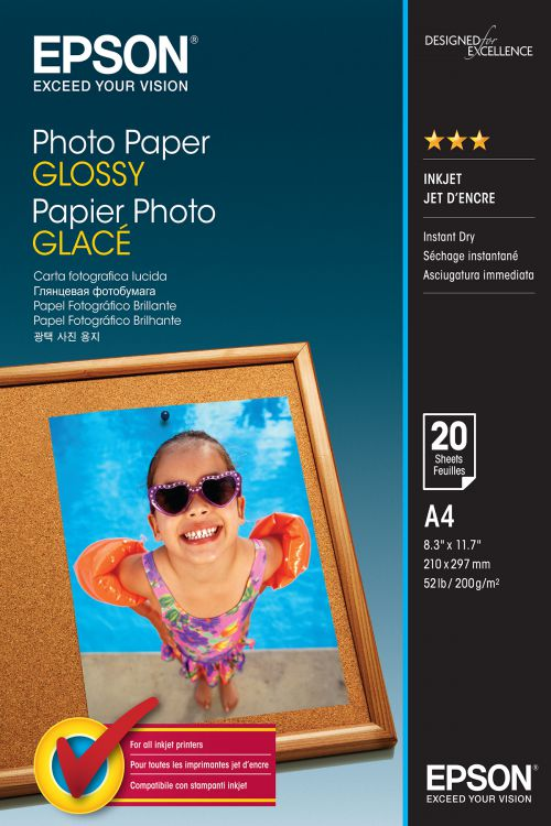 Epson (A4) 210 x 297 mm Glossy Photo Paper 200g/m2 (20 Sheets) for Expression Photo XP-950 Printer