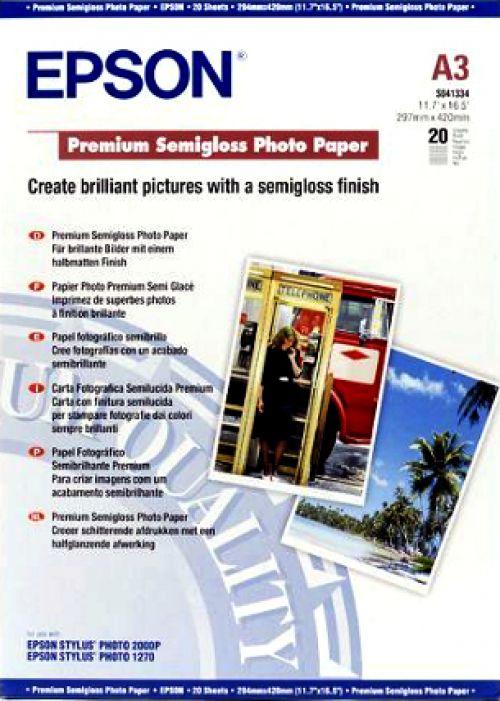 Epson Premium (A3) 251g/m2 Semi-Gloss Photo Paper (White) 1 Pack of 20 Sheets