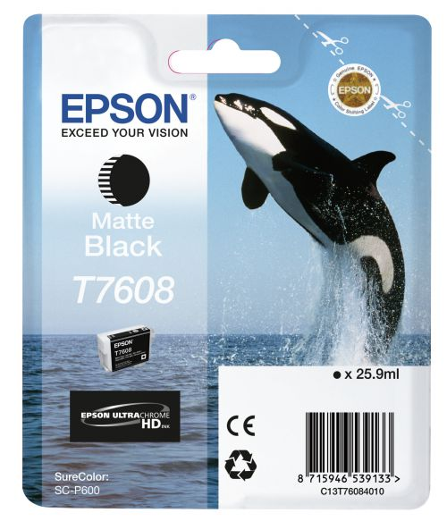 Epson T7608 (25.9 ml) Matte Black Ink Cartridge for SureColor SC-P600 Printers