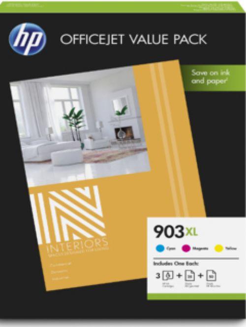 HP 903XL Office Value Pack (Cyan/Magenta/Yellow) Ink Cartridges + 75 Sheet A4 (210 x 297 mm) Paper