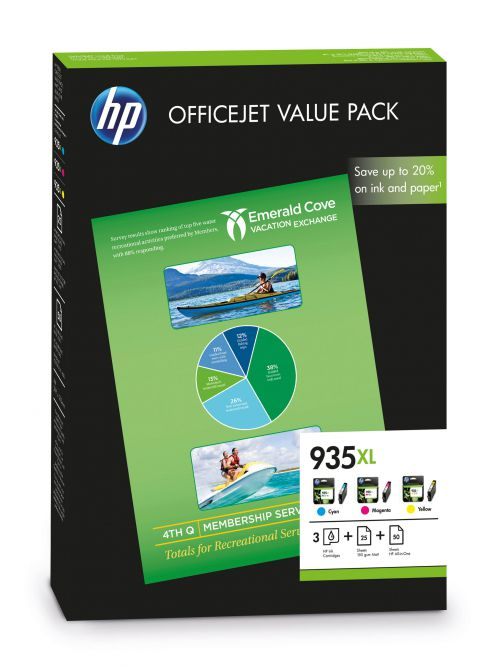 HP 935XL (Yield: 825 Pages) Cyan/Magenta/Yellow Ink Cartridge with (A4) 180g/m2 Inkjet Paper (25 Sheets) & (A4) 180g/m2 HP All-in-One Printer Paper (5