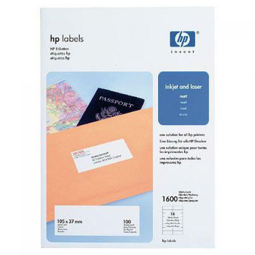 HP Labels 105 x 37mm A4 100 Sheets (16 Labels Per Sheet)