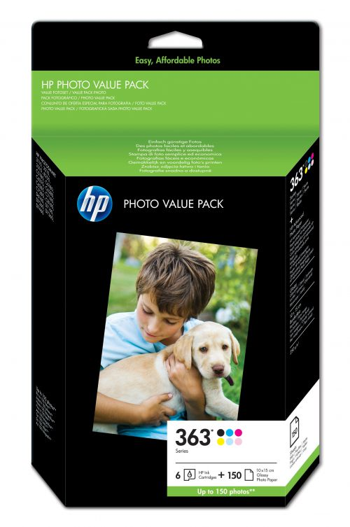 HP 363 (Yield: 410 Black/400 Cyan/370 Magenta/500 Yellow/220 Light Cyan/230 Light Magenta Pages) Ink Cartridge Pack of 6 with (10x15cm) HP Photo Paper