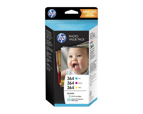 HP 364 Series Photo Value Pack Ink Cartridges (Cyan, Magenta, Yellow) + 50 Sheets of Advanced Photo Paper (10 x 15 cm)