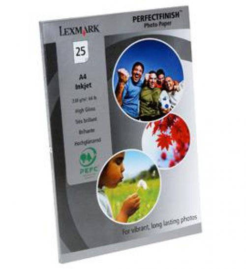 Lexmark (A4) PerfectFinish Photo Paper (25 Sheets) (White)