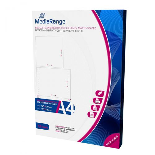 MediaRange Booklets and Inserts for CD Jewel Cases Pack of 50