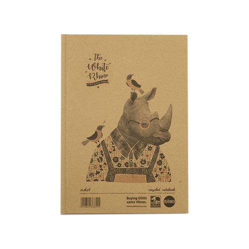 Save The Rhino Recycled Casebound Notebook 160 Pages (Pack 5) SRCBA4