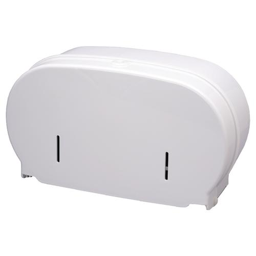 2Work Micro Twin Toilet Roll Dispenser Cored To Coreless White DIS840