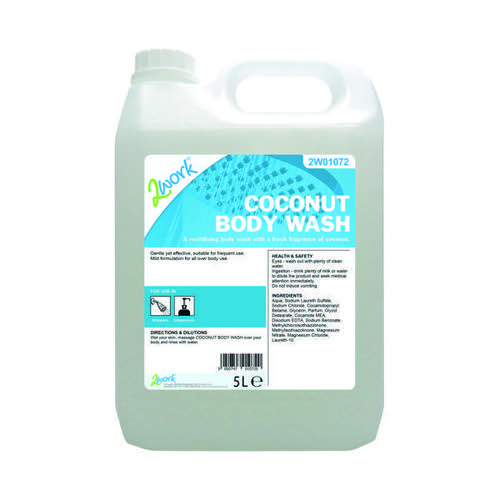 2Work Mild Coconut Body Wash 5 Litre Bulk Bottle 2W01072