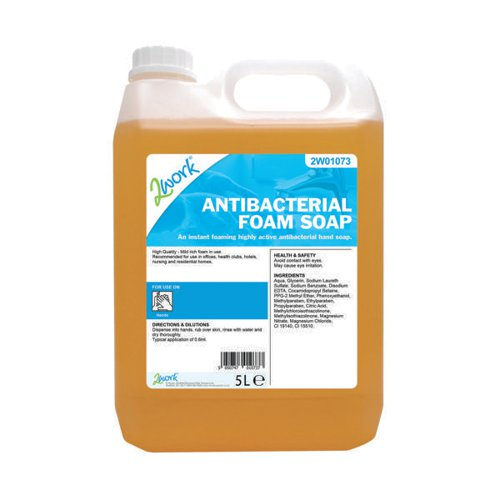 2Work Antibacterial Foam Soap 5 Litre Bulk Bottle 2W01073