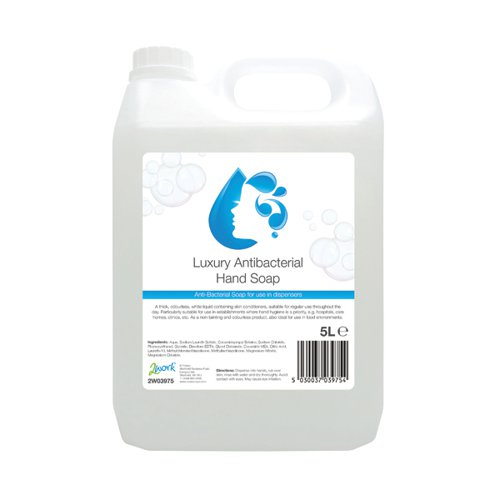 2Work Conditioning Antibacterial Handwash 5 Litre Bulk Bottle 2W03975
