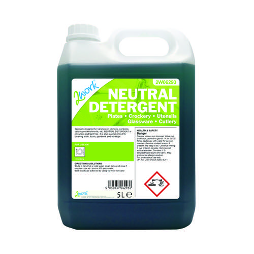 2Work Dishwashing Neutral Detergent 5 Litre 432
