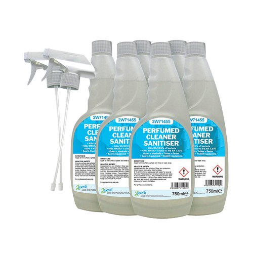 2Work Perfumed Spray Wipe Sanitiser 750ml (Pack of 6) 211SVW | 2W07254 | VOW
