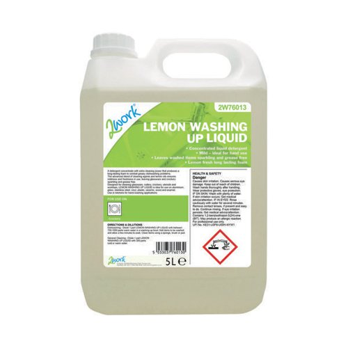 2Work Washing Up Liquid Lemon Scent 5 Litre Bulk Bottle 401