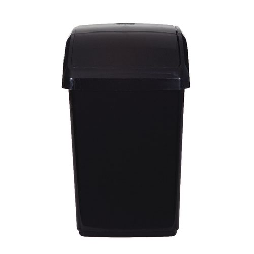 2Work Swing Top Bin 10 Litre Black RB02385