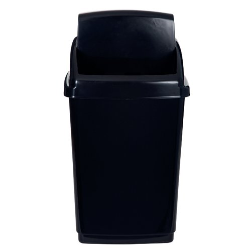 2Work Swing Top Bin 50 Litre Capacity Black 2W810012