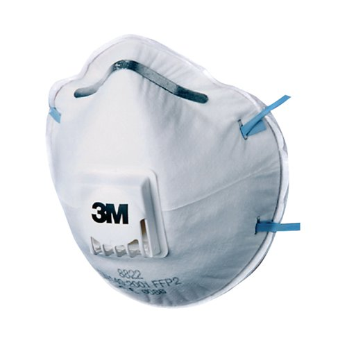 3M FFP2 Valved Respirator Mask 8822 (Pack of 10) GT500075202 by 3M, PPE1504