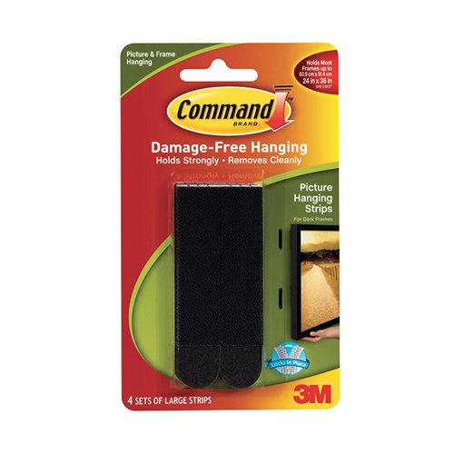 3M Command Large Picture Hanging Strips Black (Pack of 4) 17206BLK