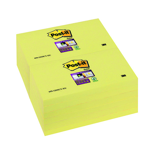 Post-it Super Sticky 76x127mm Canary Yellow (Pack of 12) 655-12SSCY