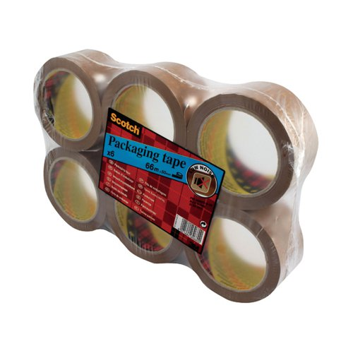 Scotch Packaging Tape Heavy 50mmx66m Brown (Pack of 6) PVC5066F6 B Adhesive Tape 3M69680