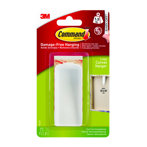 Command Canvas Hanger Large White with Hook and Strips 17044