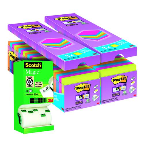 Post-it Notes Super Sticky 76 x 76mm Assorted (Pack of 24) Buy 2 Get FOC Magic Tape 3M810111