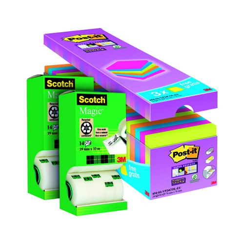Scotch Magic Tape 19mm x 33m (Pack of 14) Buy 2 Get FOC Post-it Super Sticky Assorted 3M810112