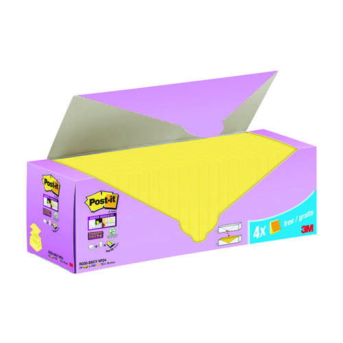 Post-it Super Sticky ZNotes Canary Yellow Cabinet 76x76mm (Pack of 24)
