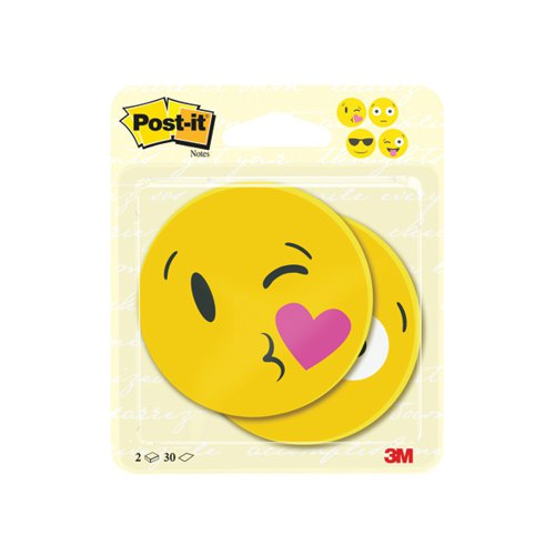 Post-it Notes Emoji Shape 30 Sheets 70 x 70mm (Pack of 2) 7100236592
